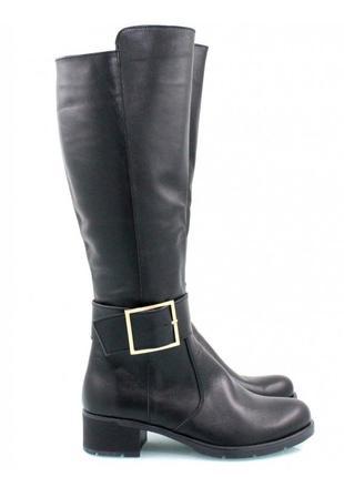 Кожаные зимние черные сапоги 36-41р низкий каблук натуральная ...