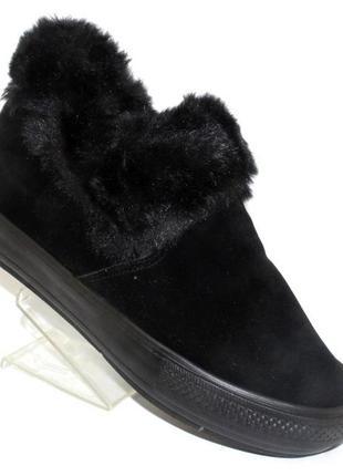 Замшевые черные зимние ботинки сникерсы бурки на скрытой танкетке
