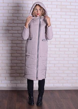 Скидка зимняя длинная куртка серая, бежевая, горчичная 44 46 5...