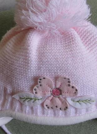 Шапочка шапка зимняя шарф на девочку комплект. 1-2-3 года.