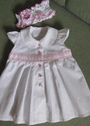 Детское платьице 1-2 год белое платье