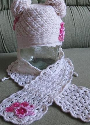 Вязанный зимний комплект шапочка шарфик шапка шарф берет девочке