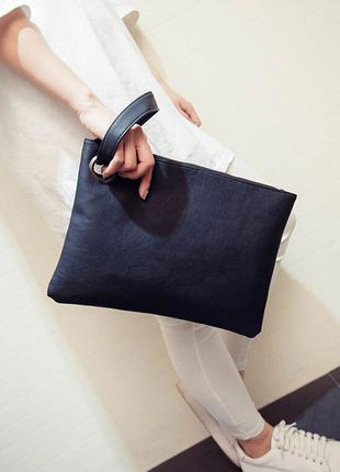 Стильная сумка конверт женская черная