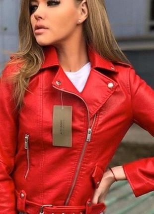 Куртка косуха из экокожи с ремнем  косуха жіноча косуха