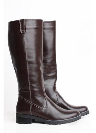 Кожаные демисезонные коричневые сапоги низкий каблук натуральн...