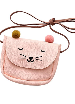 Мини-сумка на плечо бежевая кошачьи ушки