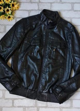 Кожаная куртка vfvesvge мужская черная
