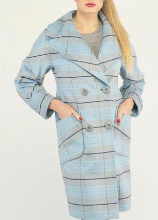 Кашемировое пальто в клетку демисезон 44-52р