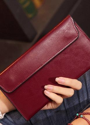 Кожаный женский кошелек черный, красный натуральная кожа