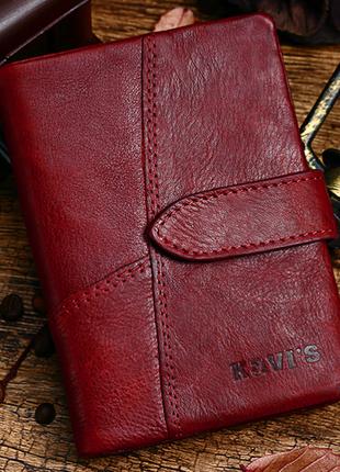 Кожаный красный женский кошелек натуральная кожа