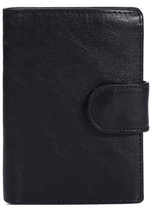 Кожаный черный мужской кошелек натуральная кожа