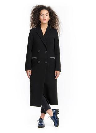 Стильное длинное пальто макси демисезон черное, серое