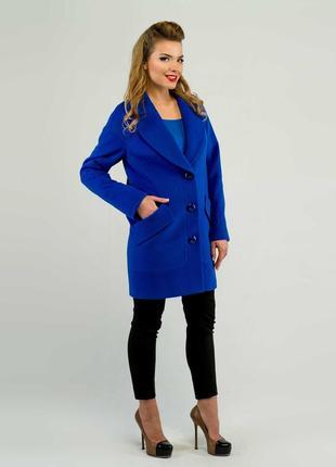 Двубортное демисезонное пальто 42-52р свободного кроя синее, ж...