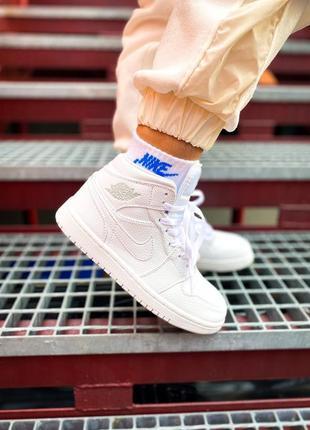 Кросівки nike air jordan 1 mid white кроссовки