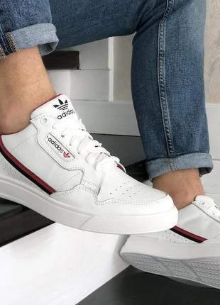 Белые кроссовки мужские, кожа