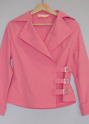 Стильная рубашка ветровка жакет на запах bingfeng розовая пудр...