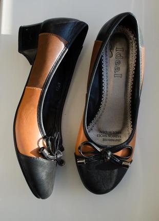 Удобные черно - коричневые туфли балетки с бантом низкий каблук