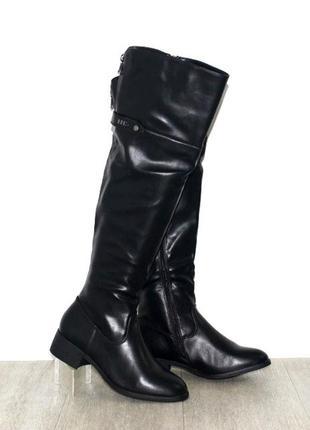 Модные черные демисезонные сапоги ботфорты на низком каблуке