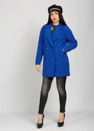 Демисезонное кашемировое двубортное полу пальто синее электрик...