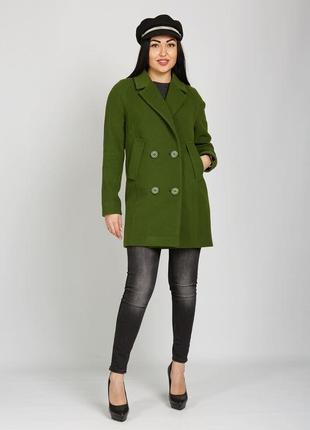 Демисезонное кашемировое двубортное полу пальто зеленое, терра...