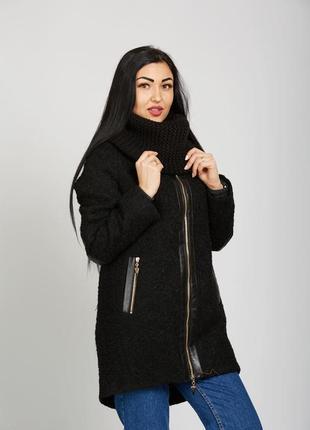 Скидка демисезонное пальто с хомутом черное из буклированного ...