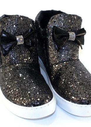 Модные блестящие черные ботинки с бантом и стразами на низком ...