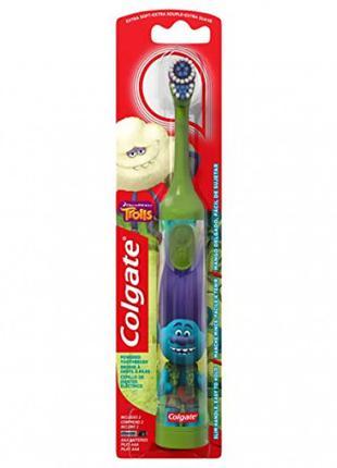 Детская электрическая зубная щетка Colgate Тролли Trolls зеленая