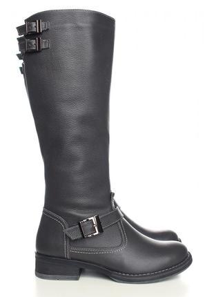 Скидка! кожаные зимние серые сапоги низкий каблук натуральная ...