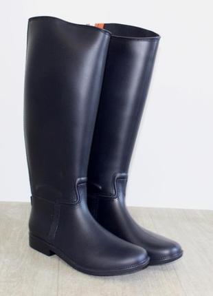 Качественные резиновые силиконовые сапоги синие, черные