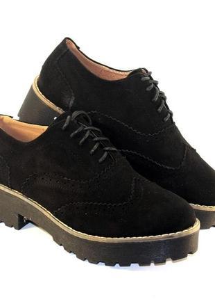 Комфортные черные замшевые туфли на шнурках низкий каблук трак...