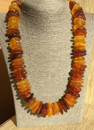 Объемное янтарное ожерелье, яркие бусы из натурального янтаря