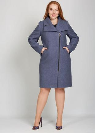 Скидка! демисезонное пальто на молнии с брошкой батал большие ...