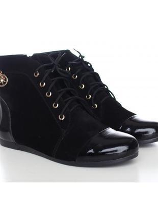 Замшевые ботинки с лаковыми вставками черные натуральная кожа ...