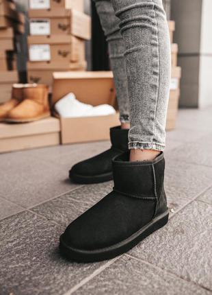 Ugg classic mini black ✰ женские замшевые угги/сапоги/ботинки ...