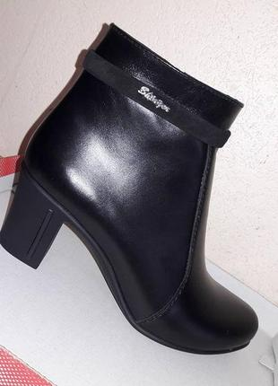 Кожаные ботинки ботильоны женские черные на каблуке демисезон ...