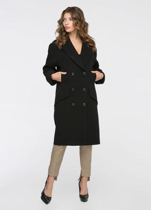 Скидка стильное пальто-кокон 42-50 свободного кроя черное, зел...