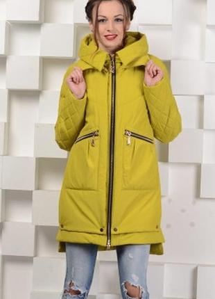 Модная демисезонная куртка-парка желтая, красная, бежевая, черная