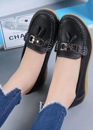 Кожаные комфортные туфли мокасины черные натуральная кожа