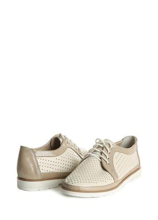Кожаные туфли с перфорацией на шнурках натуральная кожа бежевы...