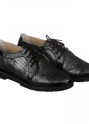 Кожаные туфли с перфорацией на шнурках натуральная кожа черные...