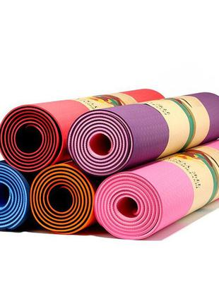 Коврик/йогамат для фитнеса двухслойный 183 х 61 х 0,6см (0613-1)