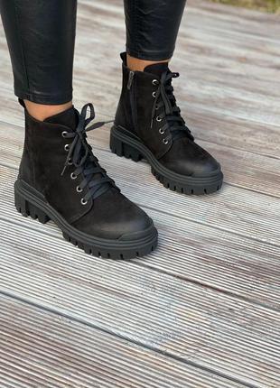 ❤ женские черные осенние демисезонные нубуковые ботинки ботиль...