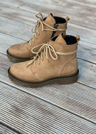 ❤ женские бежевые нубуковые осенние демисезонные ботинки ботил...