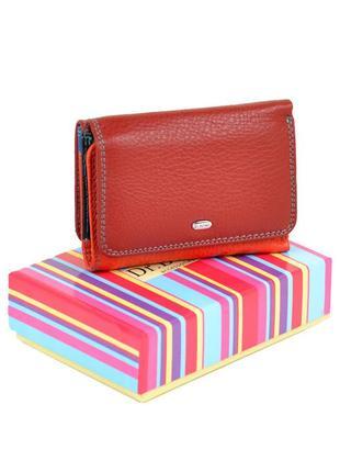 Стильный кожаный женский красный кошелек dr.bond натуральная кожа