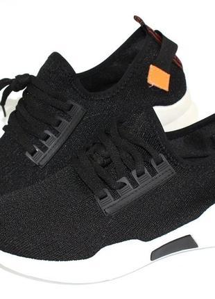 Женские черные летние текстильные кроссовки
