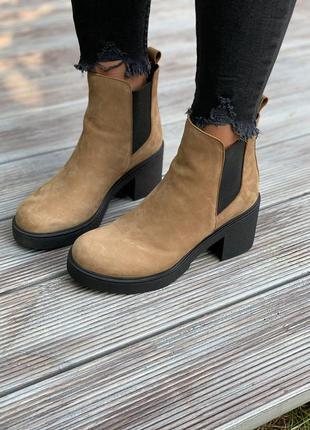 ❤ женские коричневые нубуковые осенние демисезонные ботинки бо...