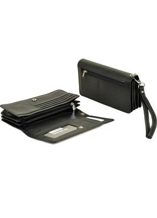 Кожаный черный мужской кошелек, портмоне, клатч, мини-барсетка...
