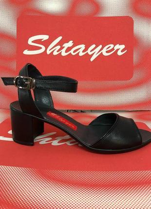 Кожаные босоножки черные, бежевые средний каблук натуральная кожа