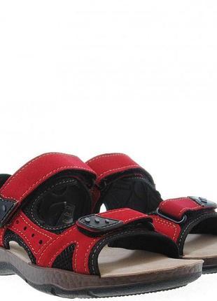 Кожаные спортивные красные босоножки сандалии на липучках нату...