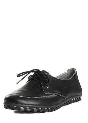 Кожаные черные туфли мокасины на шнуровке на низком ходу натур...